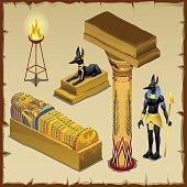 Egyptian symbols of ancient civilization, big set