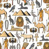 Egyptian symbols vector seamless pattern