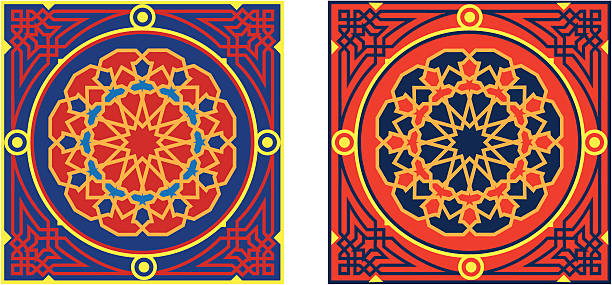 egyptian tent fabric pattern 3-red & blue - bedouin tent stock illustrations, clip art, cartoons, & icons