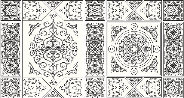 egyptian tent fabric-line art style 1 - bedouin tent stock illustrations, clip art, cartoons, & icons