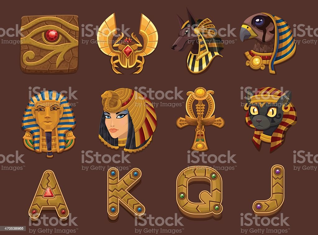 Egyptian themed slots machine symbols vector art illustration