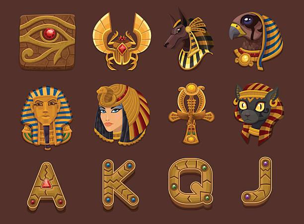 Egyptian themed slots machine symbols vector art illustration