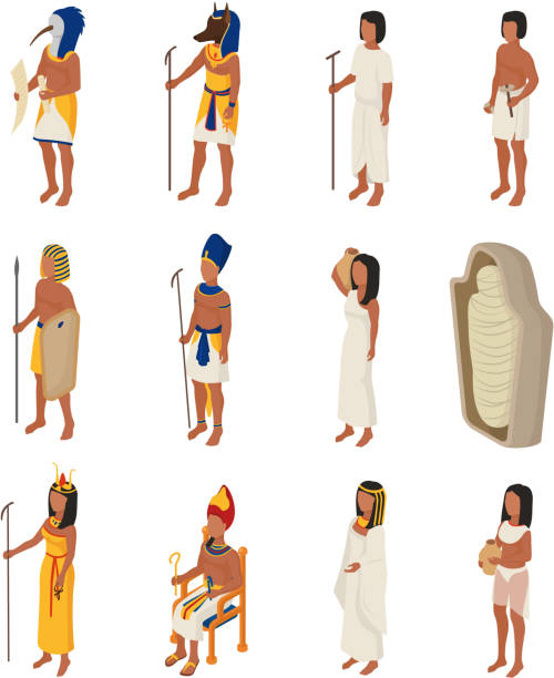 Egyptian vector ancient egypt people character pharaoh horus god Egyptian vector ancient egypt people character pharaoh horus god man woman cleopatra in egyptology history civilization illustration set isolated on white background. ancient egyptian culture stock illustrations