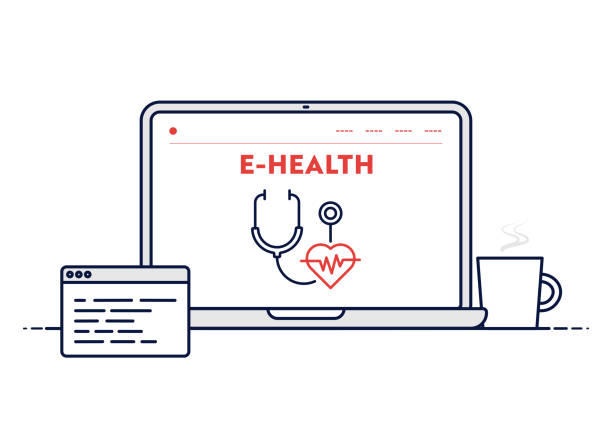 帶可編輯描邊線筆記型電腦插圖的電子健康概念。 - 健康科技 幅插畫檔、美工圖案、卡通及圖標