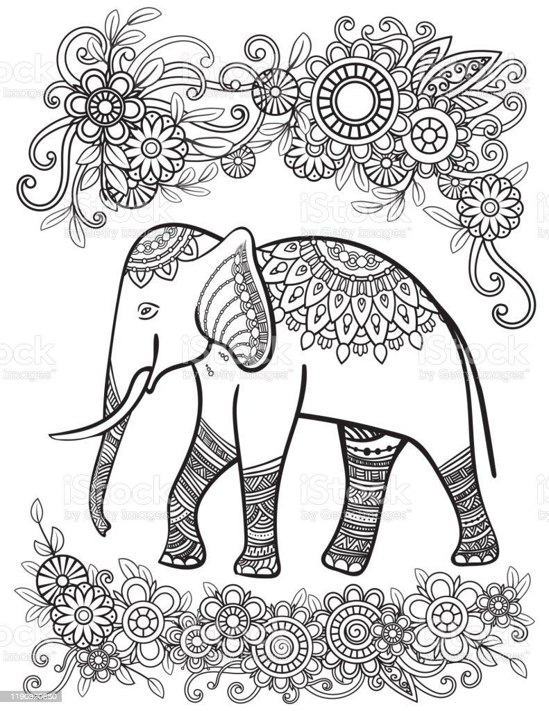 Ehtnic Elephant Coloriage Page Vecteurs Libres De Droits Et Plus D Images Vectorielles De Art Istock
