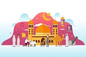 Eid adha mubarak with tiny people character design concept Hajj and Umrah season. Vector illustration