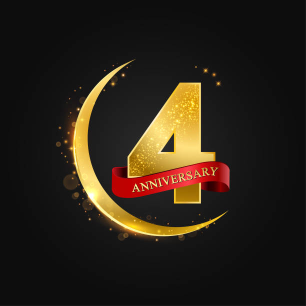 Eid al adha 4 years anniversary vector art illustration
