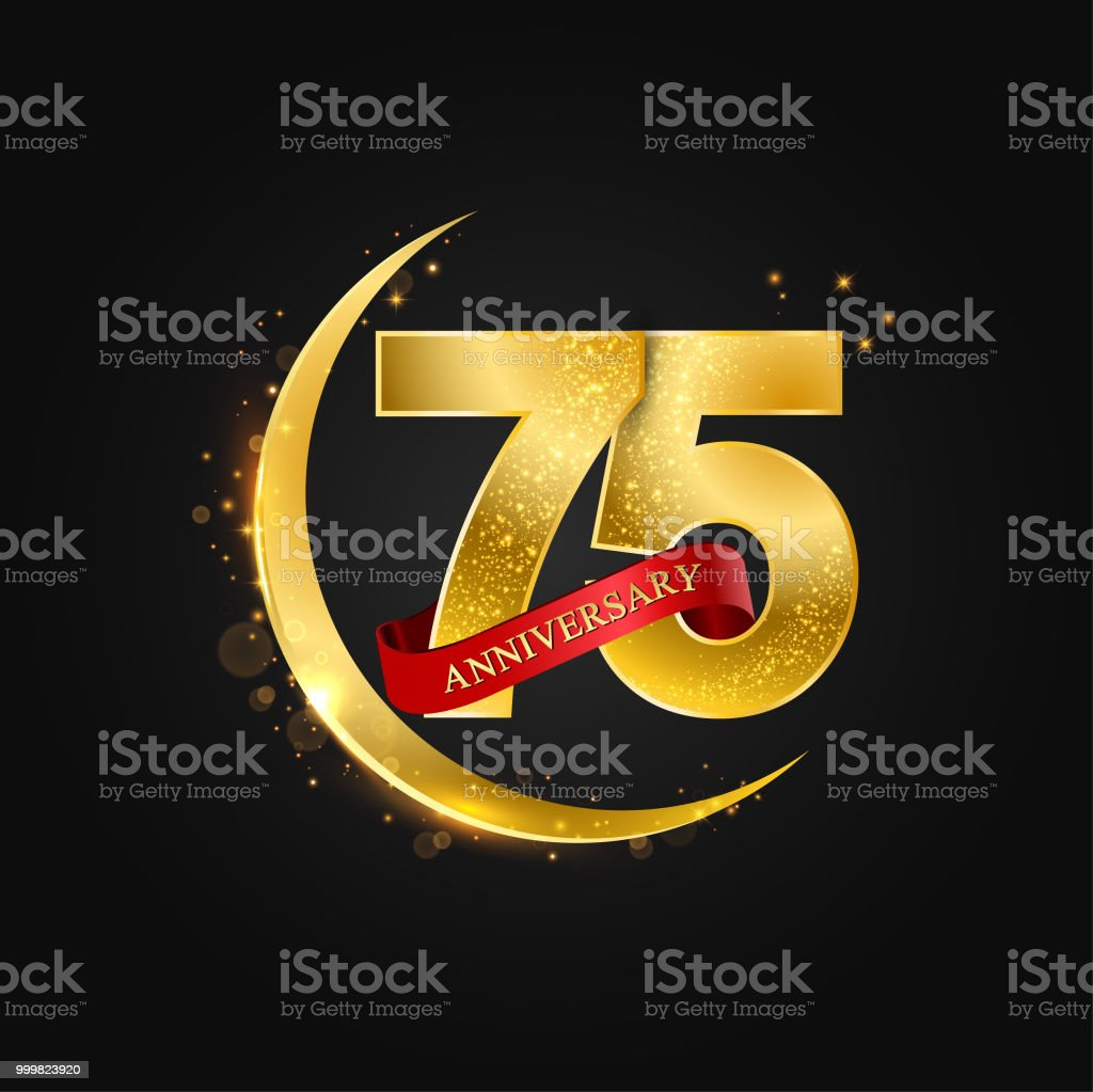 Eid al adha 75 years anniversary vector art illustration
