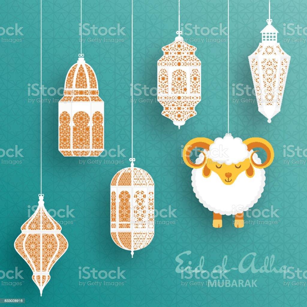 Eid Al Adha Background. Islamic Arabic lantern and sheep. Greeting card vector art illustration