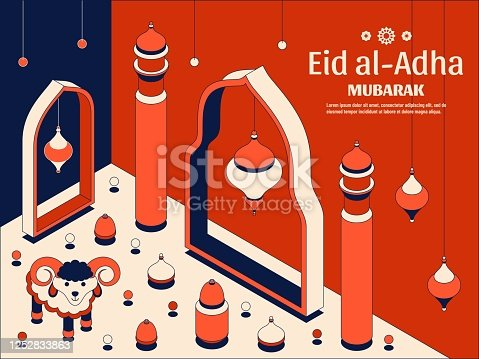 Eid al Adha Background isometric. Islamic Arabic mosque, lanterns and sheep. Greeting card. Festival of the Sacrifice. Vector illustration.