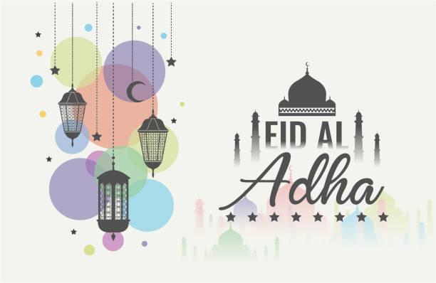 Eid al adha colorful Eid al adha greeting card or background. vector illustration. religious celebration stock illustrations