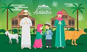 Eid al adha, qurban, muslim, cartoon, character, celebration, culture,