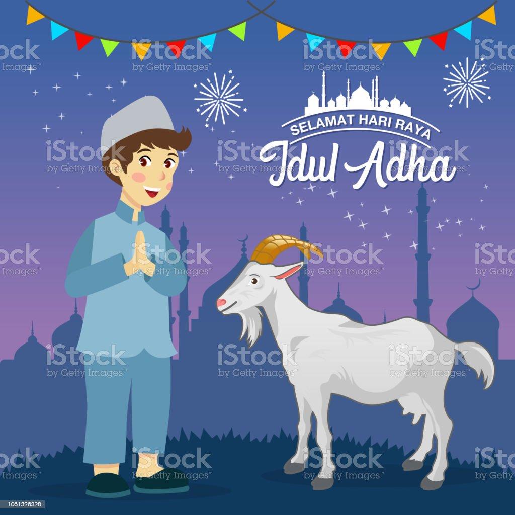 Eid Al Adha Greeting Card Cute Cartoon Muslim Boy