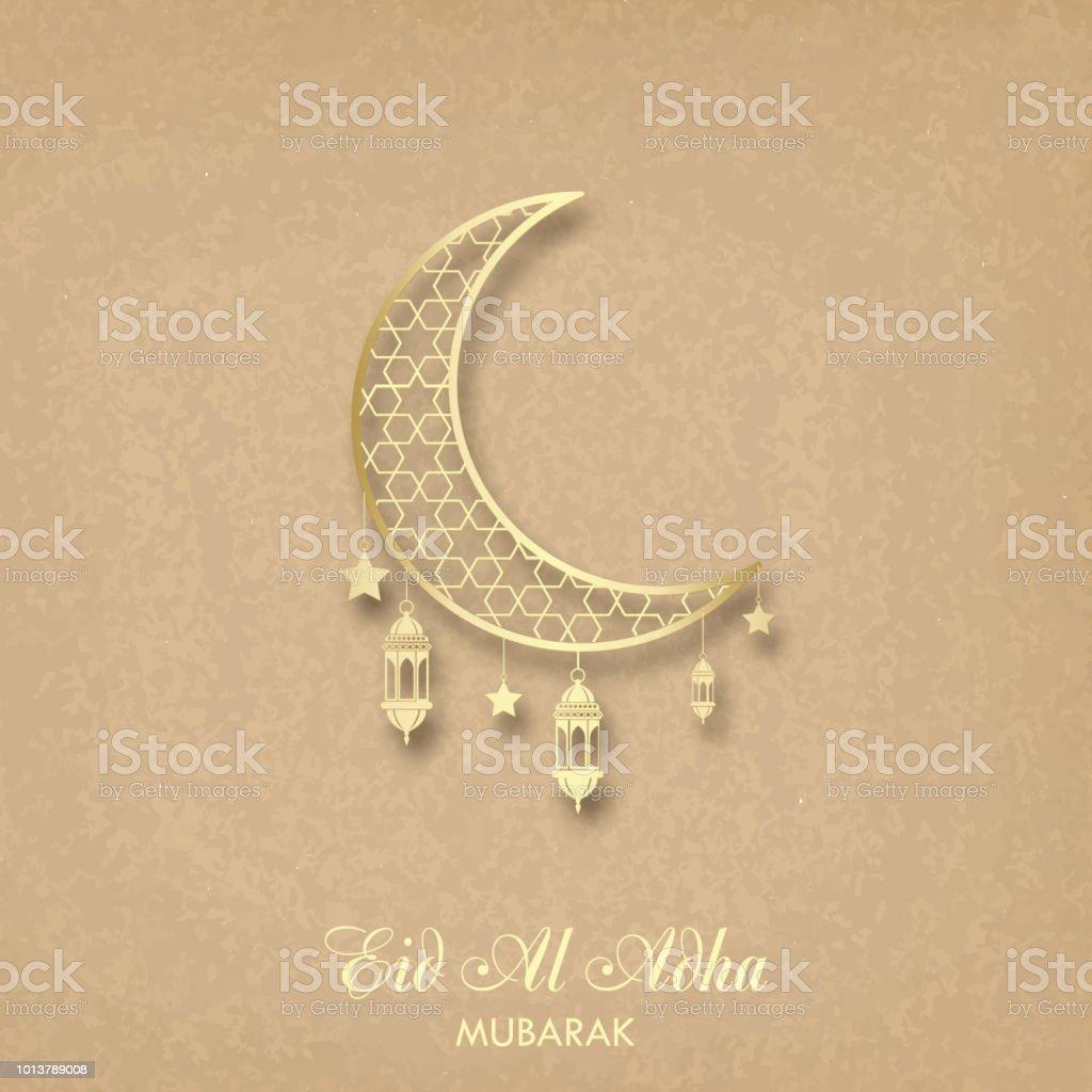 Eid Al Adha Greeting Card With Crescent And Islamic Lantern Vector
