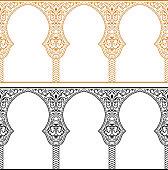 Eid al Adha greeting backgrounds set. Eastern gold and black frames. Feast of the Sacrifice vector ornament. Arch Muslim mosque design silhouette. Ramadan kareem template