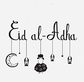 Eid Al Adha lettering with hanging sheep, moon and lanterns. Vector illustration. EPS10