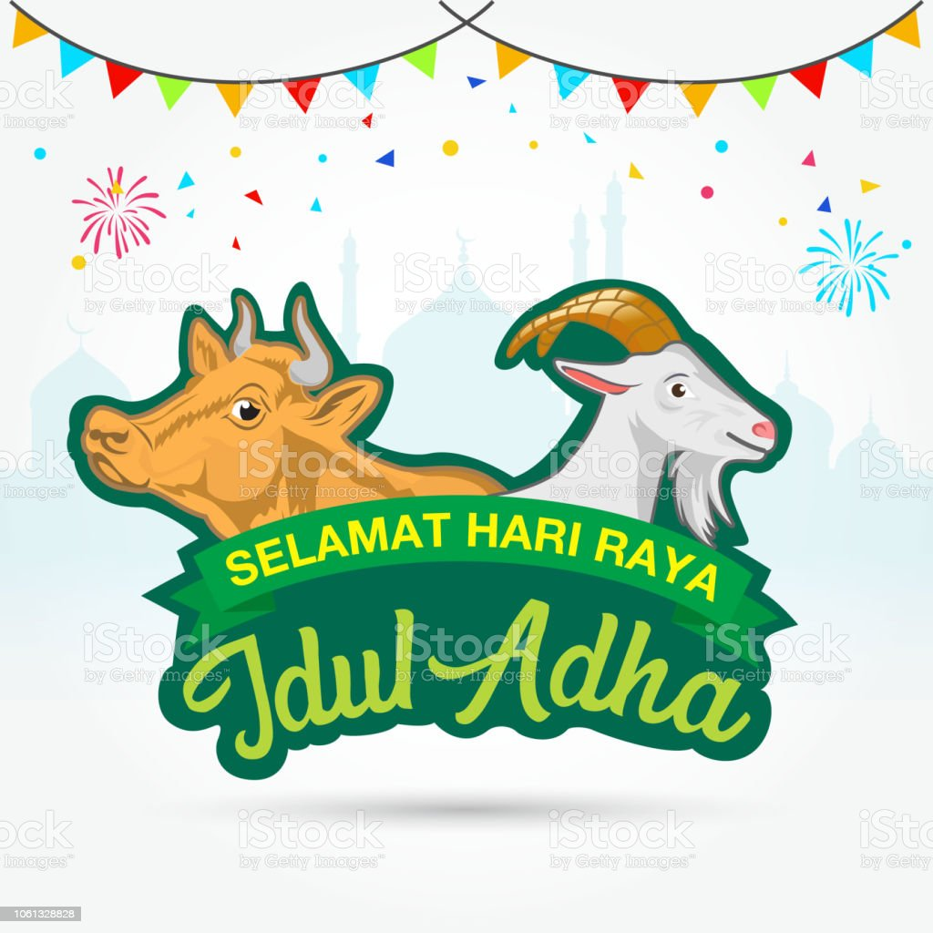 Eid Al Adha Logo With Goat And Cow Selamat Hari Raya Idul