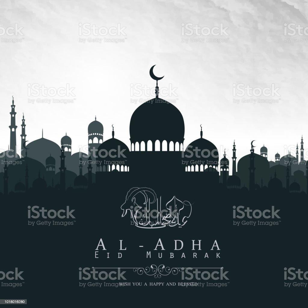 Eid Al Adha mubarak background design with mosque vector art illustration