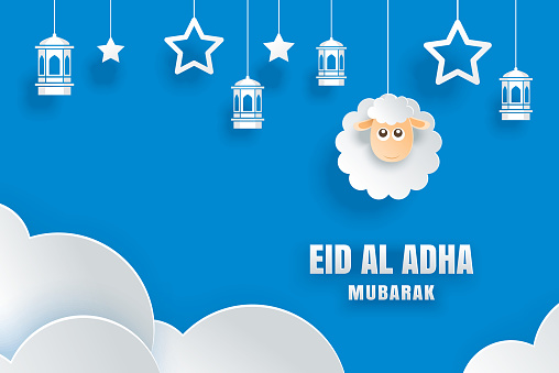 eid al adha mubarak celebration card with sheep in paper art blue background use for banner poster flyer brochure sale template stock illustration download image now istock eid al adha mubarak celebration card with sheep in paper art blue background use for banner poster flyer brochure sale template stock illustration download image now istock