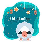 Eid al adha mubarak, goat illustration greeting wish poster, card, vector illustration