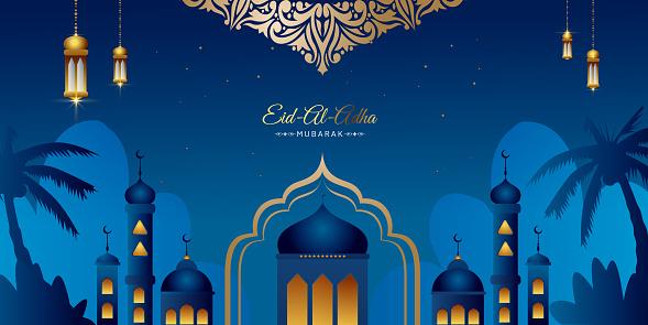 Eid Al Adha Mubarak greeting background Vector illustration, Beautiful mosque with Arabic lanterns and stars, Muslim community festival.