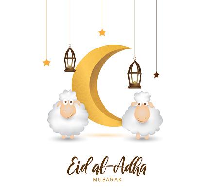 Eid Al Adha mubarak greeting card with cute sheep, moon, lantern and stars. Vector