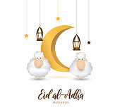 Eid Al Adha mubarak greeting card with cute sheep, moon, lantern and stars. Vector illustration. EPS10