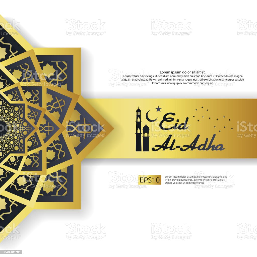 Eid al adha mubarak greeting design abstract gold color mandala with eid al adha mubarak greeting design abstract gold color mandala with pattern ornament element stopboris Images