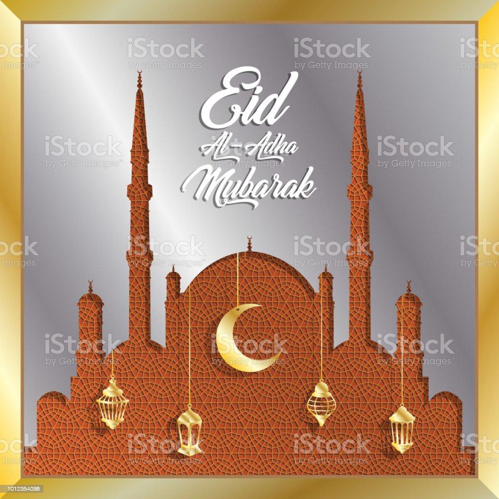 Eid al Adha Mubarak Gruß mit Silber Moschee und gold Laternen für muslimischen Feiertag – Vektorgrafik