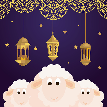 eid al adha mubarak, happy sacrifice feast, sheeps with lanterns hanging and decoration