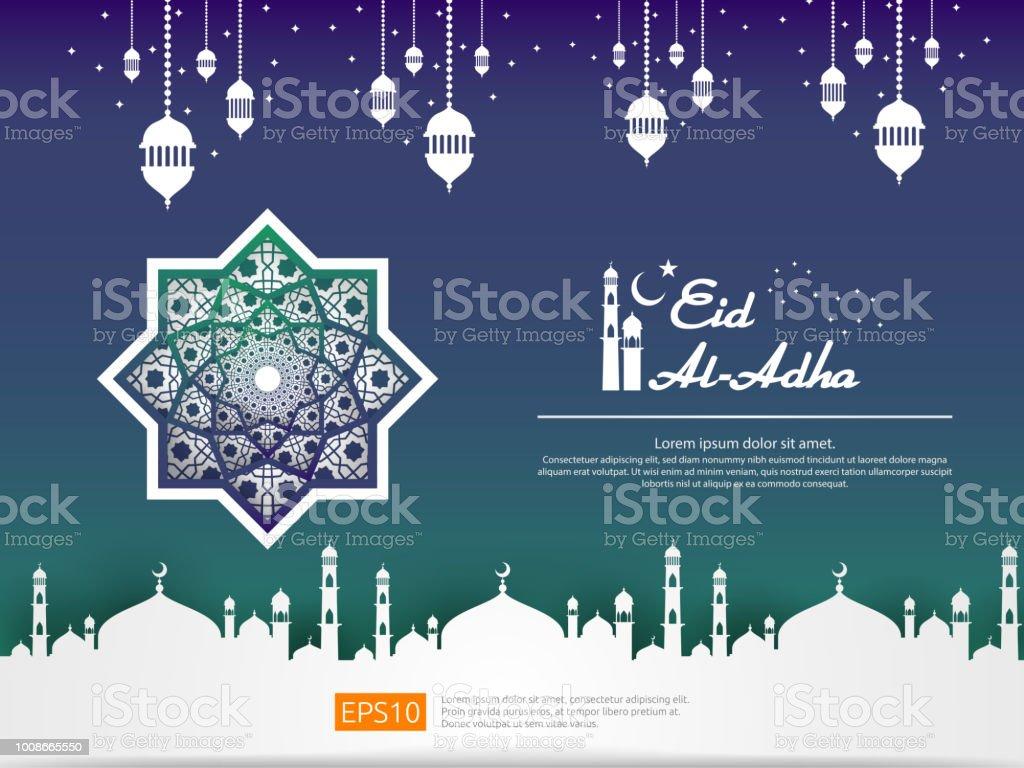 Eid Al Adha Mubarak Islamic Greeting Card Design With Dome Mosque