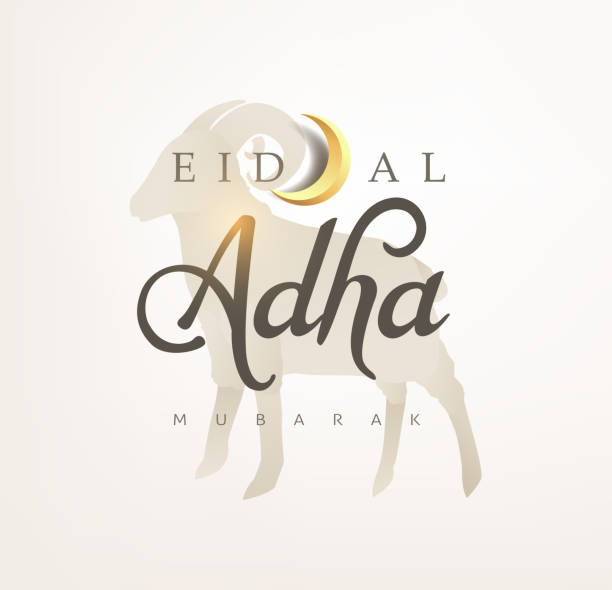 Eid Al Adha Mubarak the celebration of Muslim community festival calligraphy background design. vector art illustration