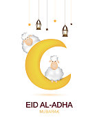 Eid Al Adha mubarak white card. Muslim holiday card with cute sheep, moon and lantern and stars. Vector illustration. EPS10