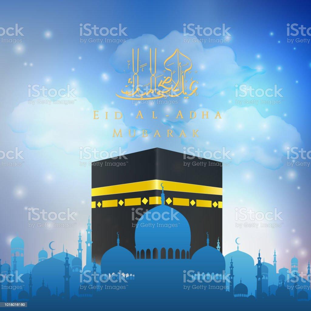 Eid Al Adha mubarak with Hajj Kaaba and Mosque vector art illustration