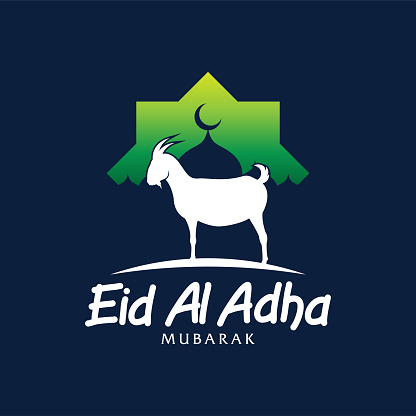 Eid Al Adha vector. Eid Al Adha illustration. vector graphic of good for islamic day, eid mubarak, eid fitr, greeting card, background. graphic with goat and mosque.