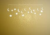 Vector illustration on the theme of a happy Eid-Al-Adha (Kurban Bayrami) - Feast of the Sacrifice and Eid Mubarak. With stars and moon.