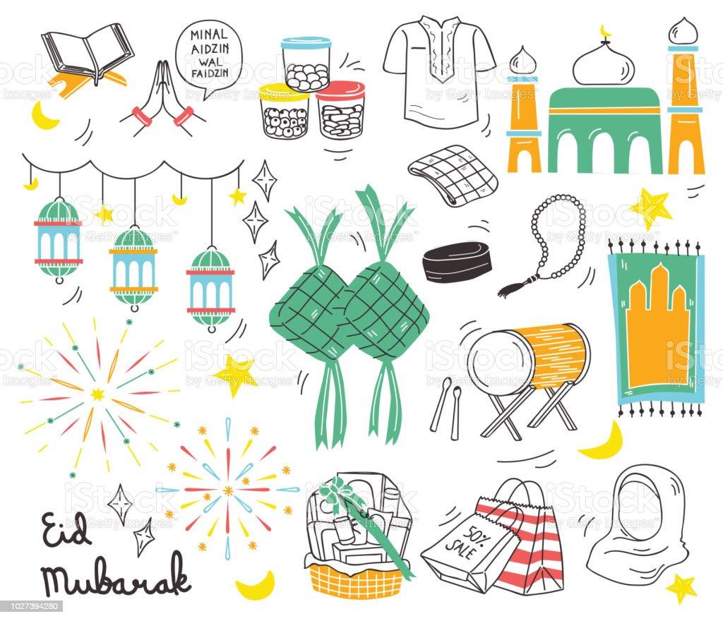 Eid al fitr festival in doodle style vector illustration, idul fitri celebration in indonesia