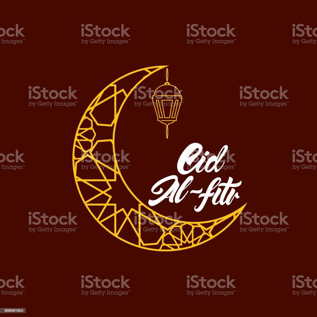Eid al fitr in lettering style. Gold moon and lamp illustration in line style. Vector illustration design. vector art illustration