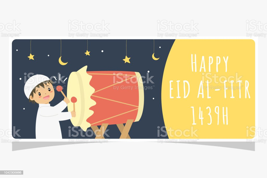 Eid Al Fitr Ramadan Banner, Muslim Boy Hitting Bedug Vector Design vector art illustration