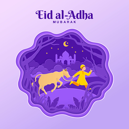 Eid al-Adha greeting card concept illustration in paper cut style