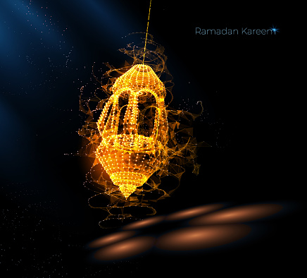 Eid Al-Adha Islamic holidays. greeting card. lamps on a blurred background arches. On bokeh arch interior background. Ramadan Kareem. Card design template. Traditional arabic poster card object