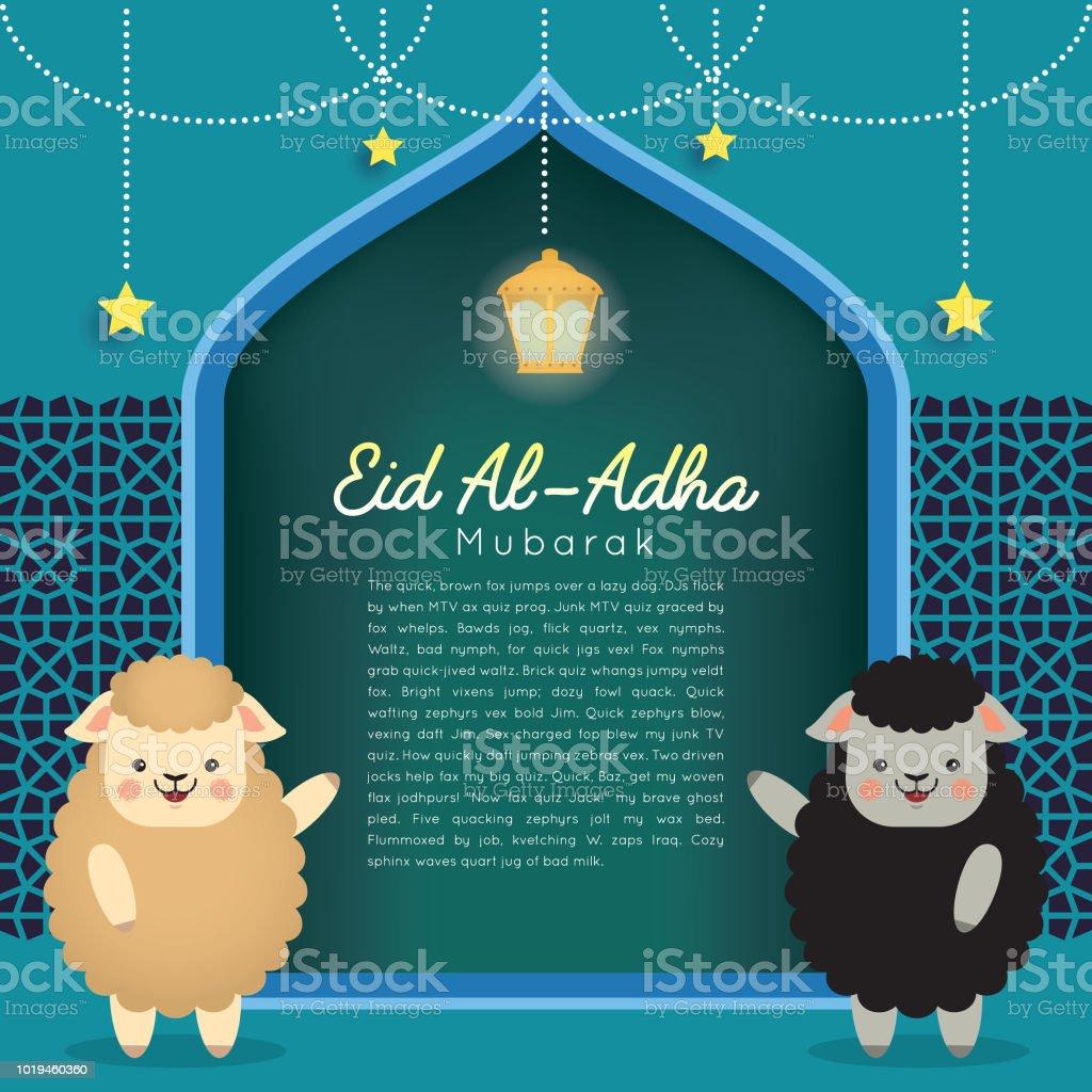 Eid Al-Adha mubarak template_black & white sheep vector art illustration