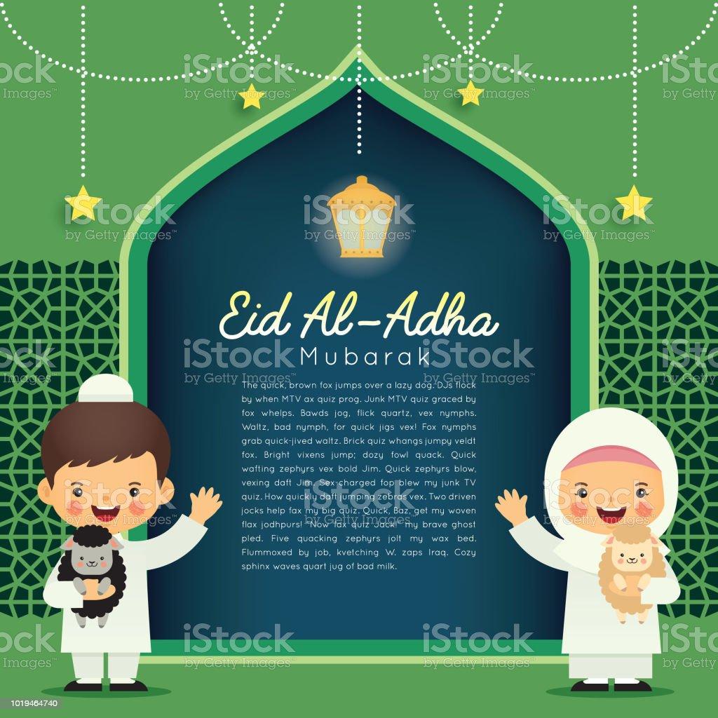 Eid Al-Adha mubarak template_muslim kids & sheep vector art illustration