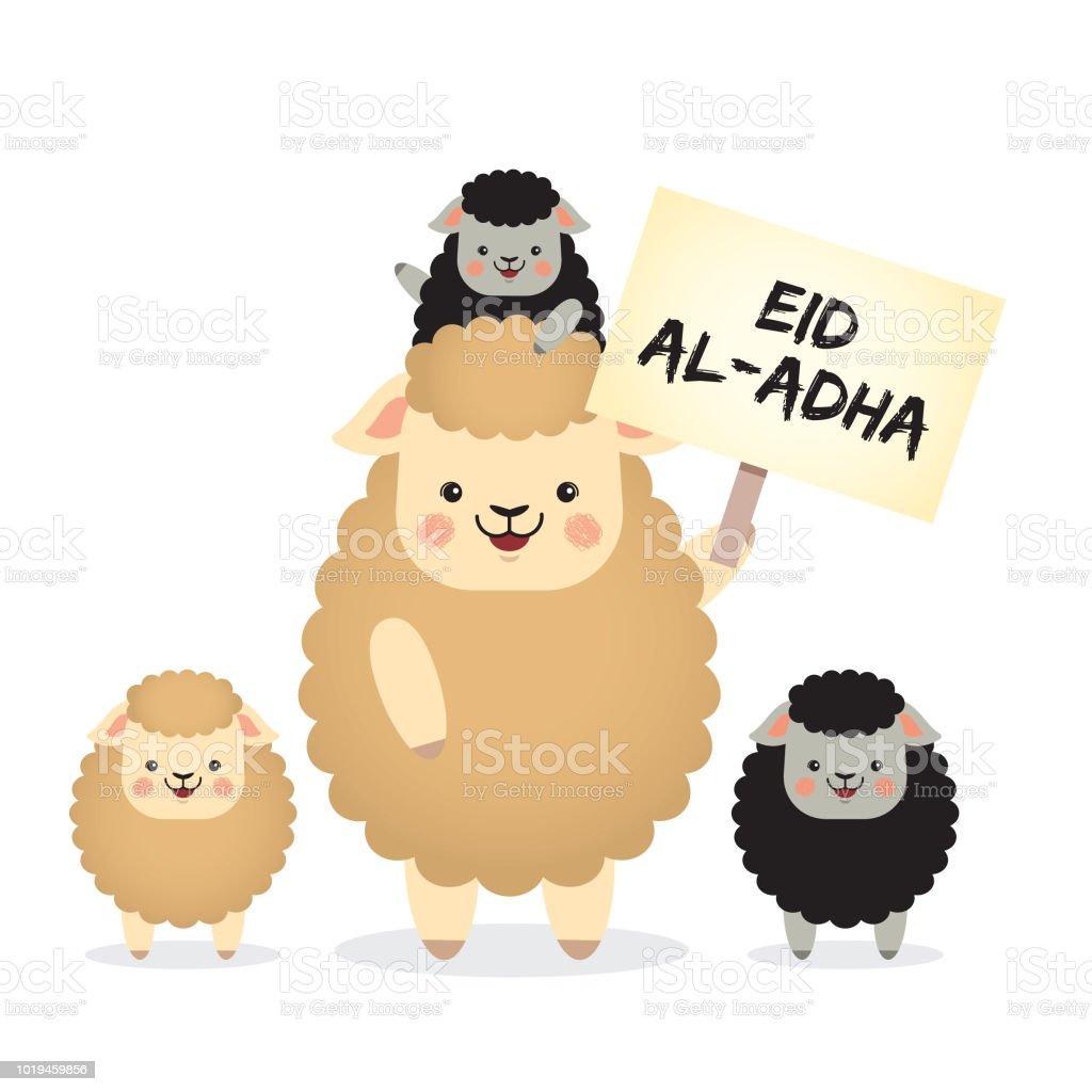 Eid Al-Adha mubarak_cartoon black & white sheeps vector art illustration