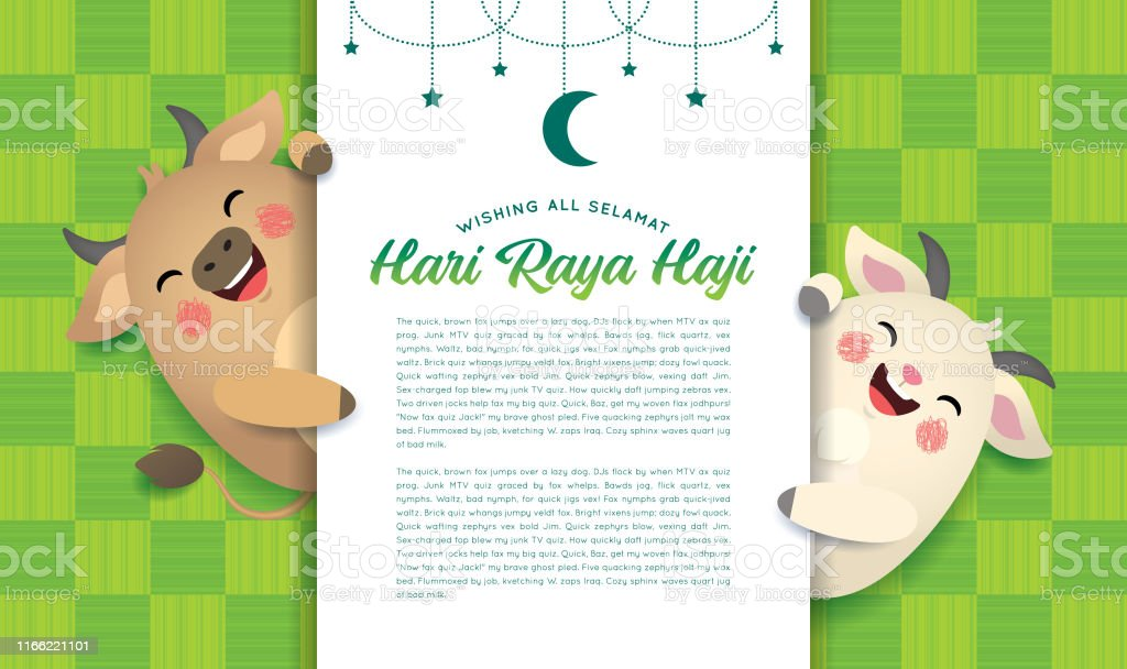 eid aladha or hari raya haji cartoon cow goat with greeting text on ketupat texture background stock illustration download image now istock eid aladha or hari raya haji cartoon cow goat with greeting text on ketupat texture background stock illustration download image now istock
