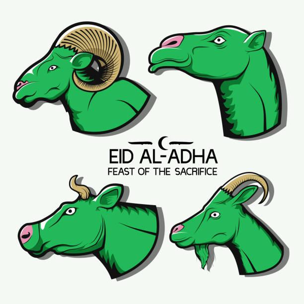 開齋節。套插圖。駱駝, 母牛, 綿羊和山羊。標誌, 圖示, 標誌, 貼紙, 列印。向量藝術插圖