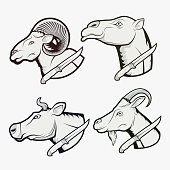 Eid al-Adha. Set of illustrations. Camel, cow, sheep and goat with a knife. Logo, icon, emblem, sticker, print.
