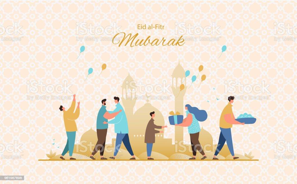 Eid al-Fitr greeting card vector vector art illustration