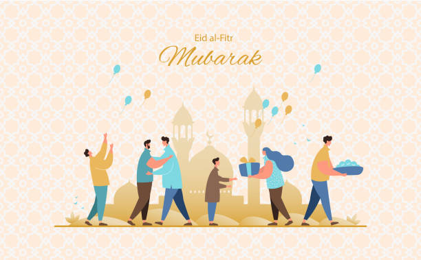 Eid al-Fitr greeting card vector Muslim people feast of breaking the fast.Happy muslim community give gifts, charity and congratulate each other. Eid al-Fitr greeting card vector eid mubarak stock illustrations