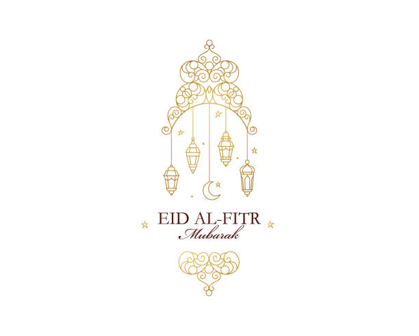 stockillustraties, clipart, cartoons en iconen met eid al-fitr mubarak wenskaart - suikerfeest